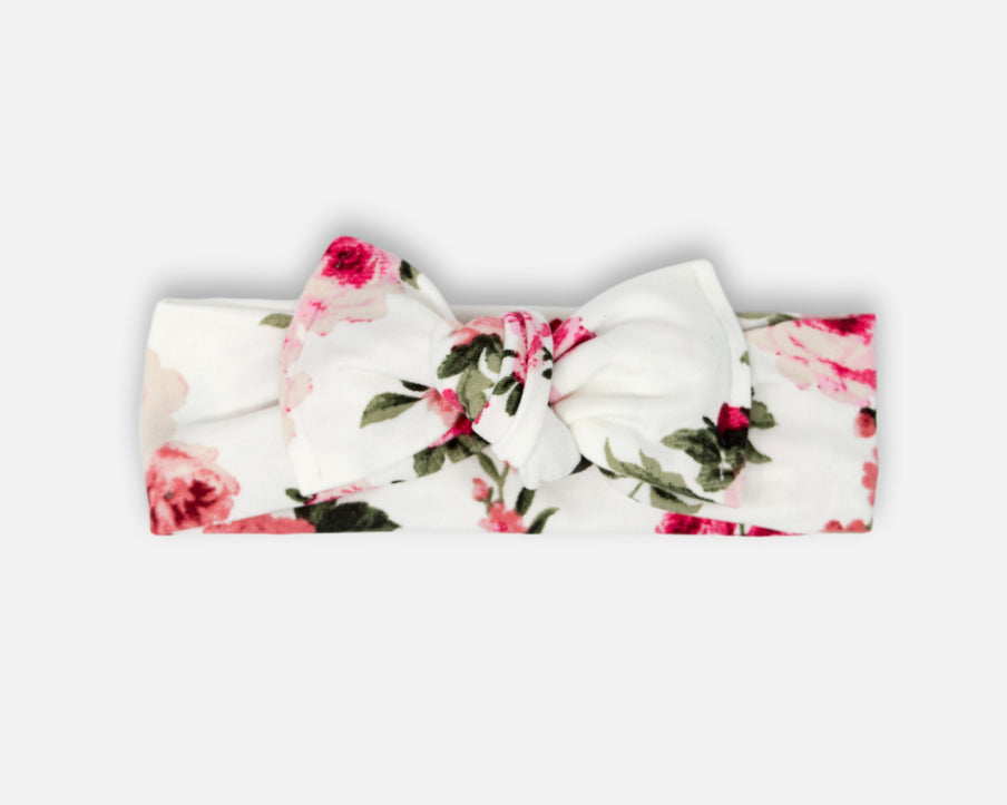 Roses in White - Tie On Head Wrap
