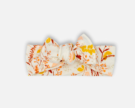 Earthen Floral in Ivory - Tie On Head Wrap