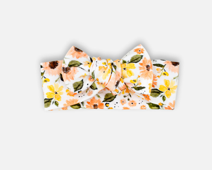 Peachy Sunflowers - Tie On Head Wrap