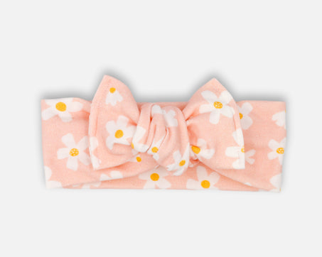 Daisies in Pink - Tie On Head Wrap