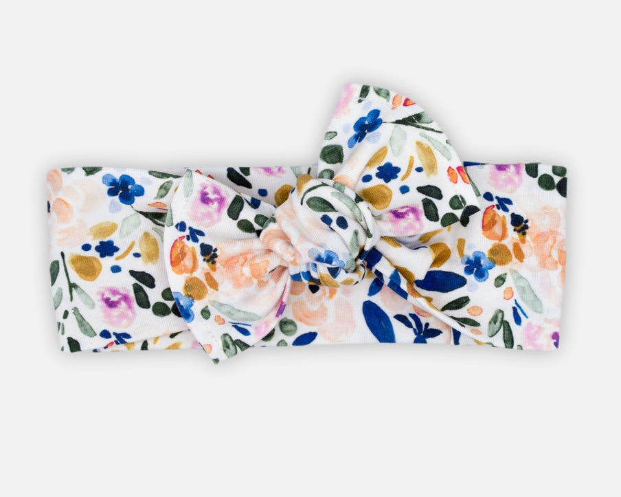 Watercolour Floral in White - Tie On Head Wrap