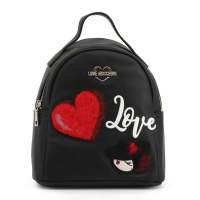 Love Moschino  JC4091PP18LP Faux Leather Backpack In Black