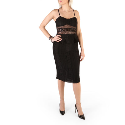 Guess - 71G746_8220Z Spaghetti Strap Midi Dress in Black