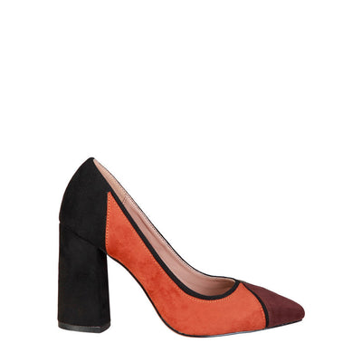 Fontana 2.0 VALERIA Suede Leather Block Heel Pumps in Brown