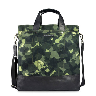 Police PT032010 Leather Fabric Briefcase in Green
