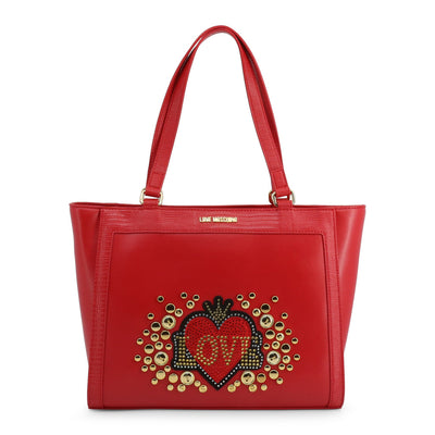 Love Moschino  JC4106PP18LT Faux Leather Shopping Bag In Red