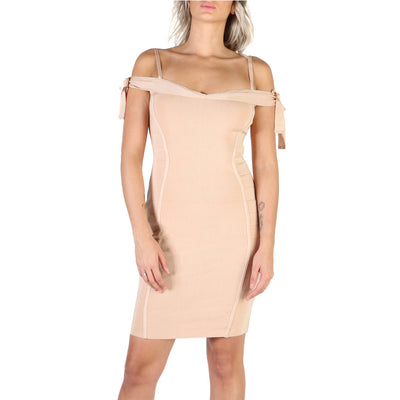 Guess - W84K59_Z1WK0 Spaghetti Strap Bodycon Mini Dress in Brown