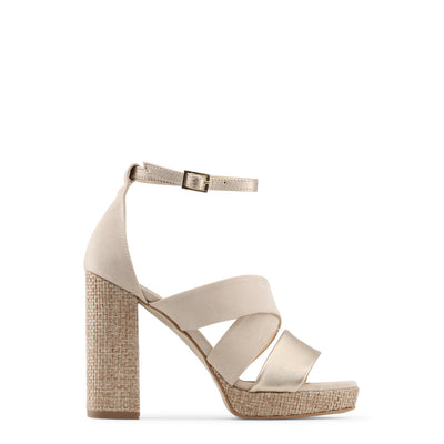 Made in Italia - OFELIA Block Heel Sandals in Beige & Brown