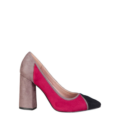 Fontana 2.0 VALERIA Suede Leather Block Heel Pumps in Blue & Bordeaux
