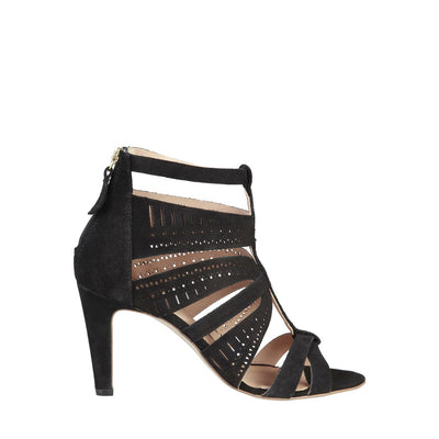 Pierre Cardin AXELLE Real Leather High Heel Sandals in Black