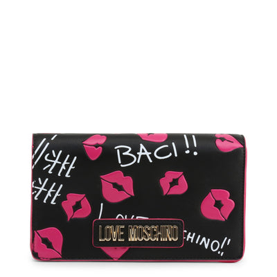 Love Moschino  JC4111PP18LU Faux Leather Clutch Bag In Black