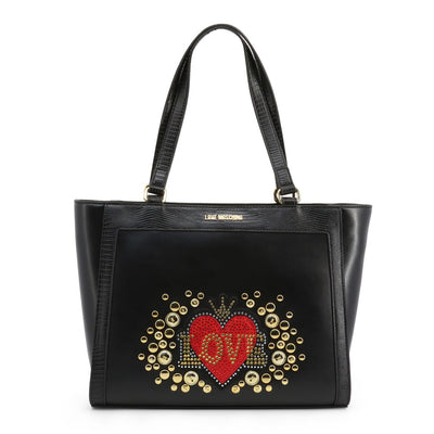 Love Moschino  JC4106PP18LT Faux Leather Shopping Bag In Black
