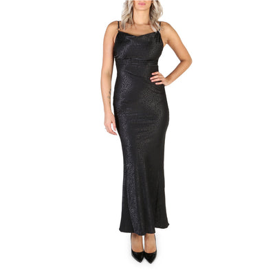 Guess - W84K2R_WBVQ0 Spaghetti Strap Maxi Bodycon Dress in Black