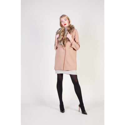 Fontana 2.0 FREDIANA Faux Fur Collar Coat in Beige