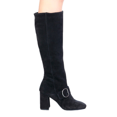 Fontana 2.0 ROMI Leather Suede Knee Length Boots in Black