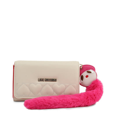 Love Moschino  JC5616PP18LO Faux Leather Clutch Bag In White