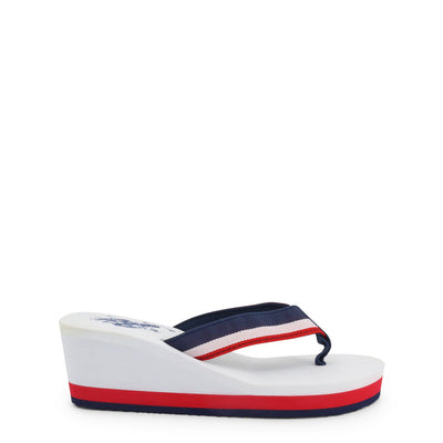 U.S. Polo Assn. - CHANY4093S0_T1 Women's Wedge Flip Flops in White