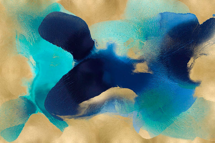 Free Form Blue on Gold - HANNAH CARLSON