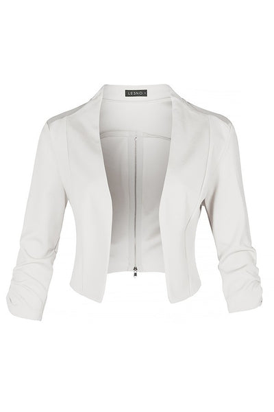 Let Loose Cropped Zipper Back Blazer
