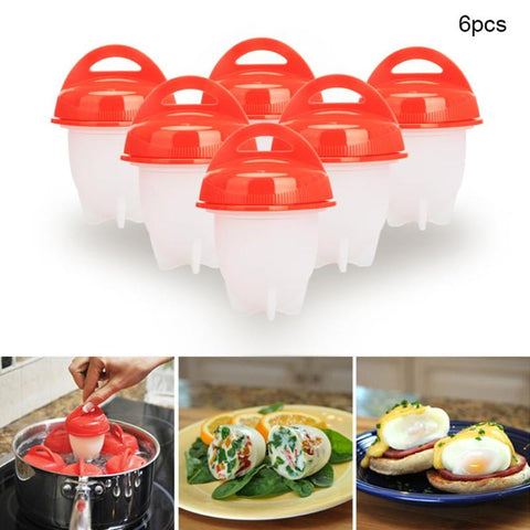6pcs/set Hard Boil Egg Cooker 6 Eggies Without Shells Silicone Egg Cup Eggs Shell Separator Poacher Kitchen Egg Gadgets