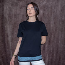 Load image into Gallery viewer, Gaia t-shirt with knitting detail (second hand t-shirt) - telchines-fashion-ltd