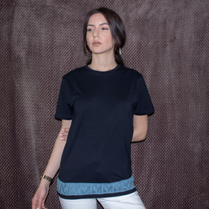 Gaia t-shirt with knitting detail (second hand t-shirt) - telchines-fashion-ltd
