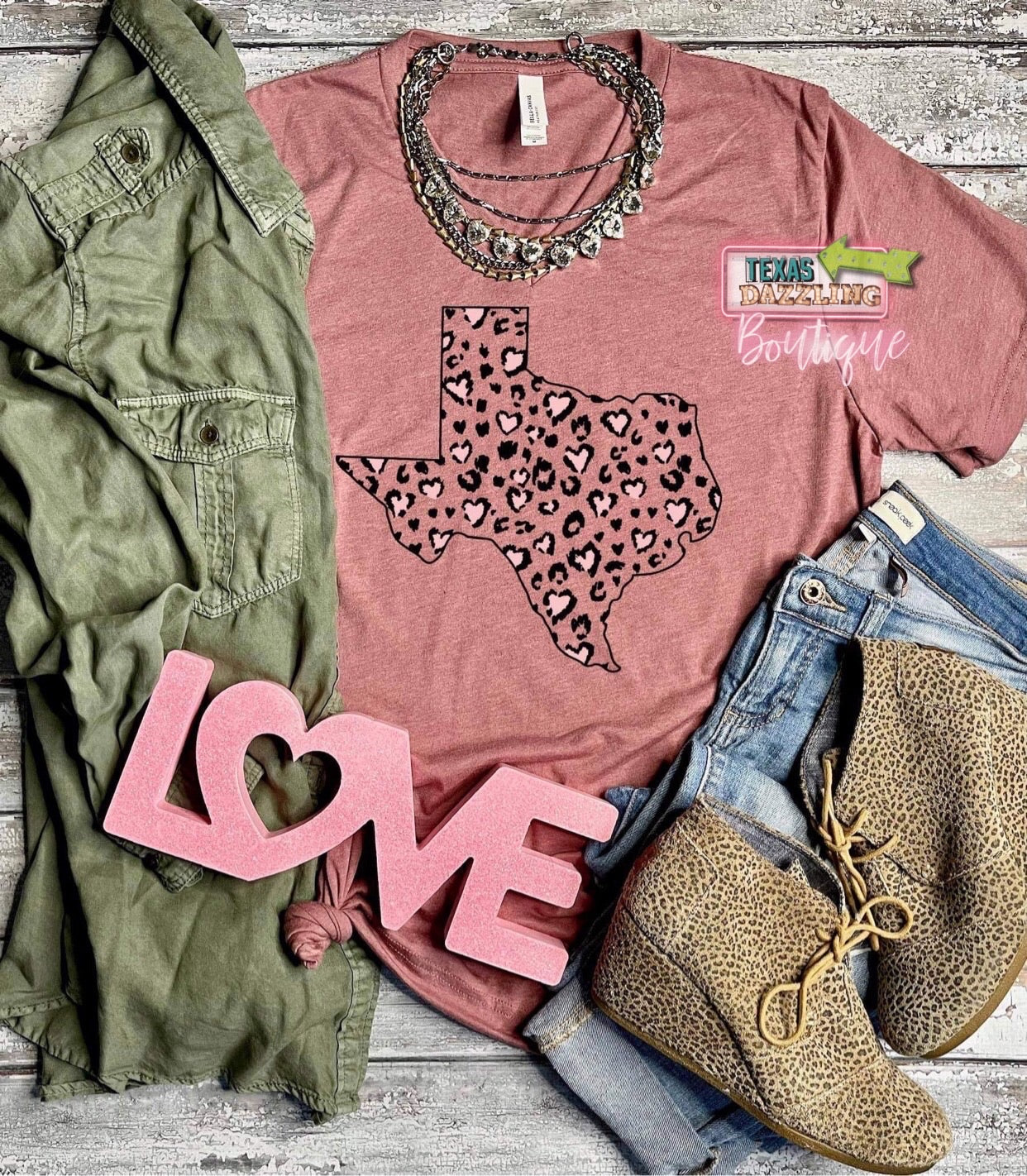 Heart Leopard State Tee