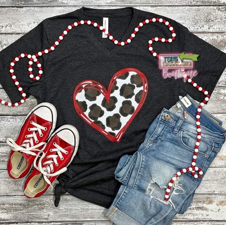 Leopard Heart Outline Tee
