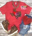 Leopard Heart Texas Be Mine Tee