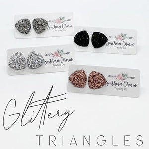 Earrings - Glittery Triangles
