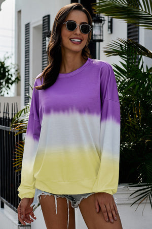 Jackie Color Block Tie Dye Pullover Top