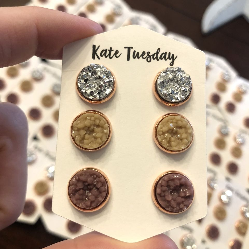 Fall 10mm Nude Sparkle Triple Set in Rose Gold Setting