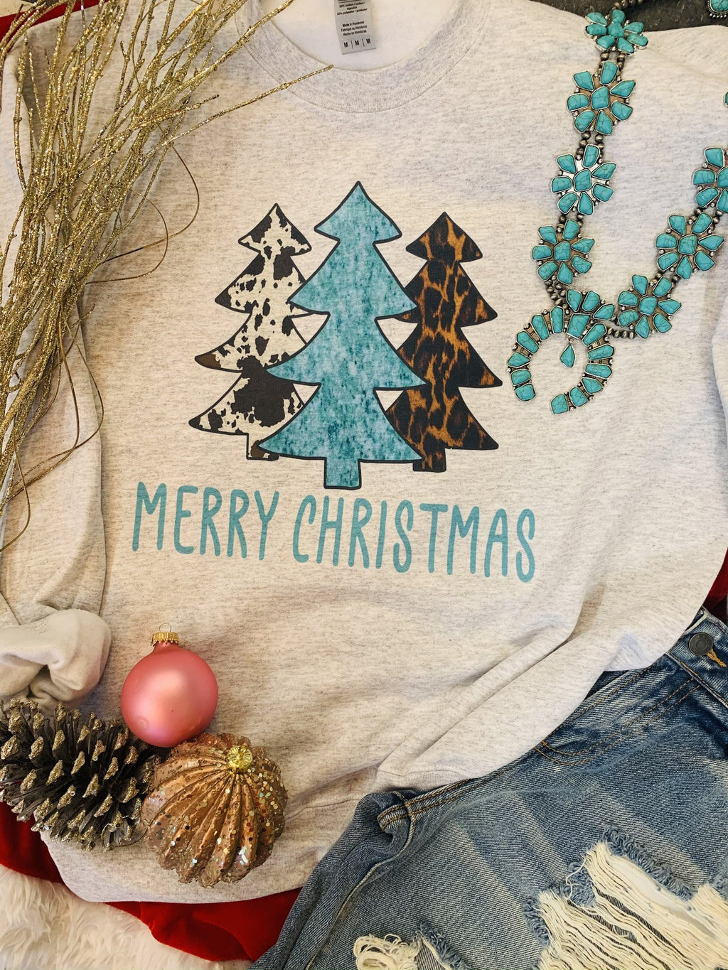 Merry Christmas Turquoise Sweatshirt