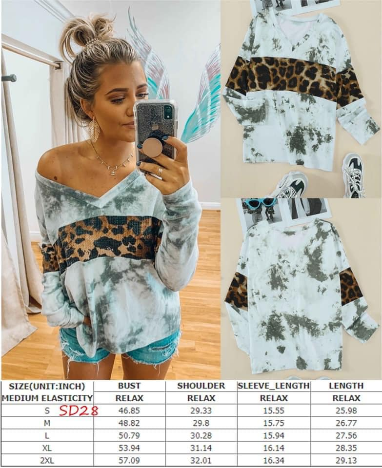 Marbled Leopard V-Neck Top