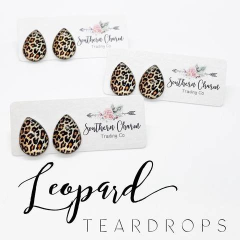 Earrings - Big as Texas Golden Leopard Teardrops