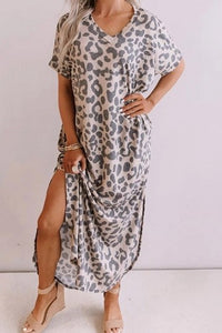 Leighton Leopard Maxi Dress with Slits