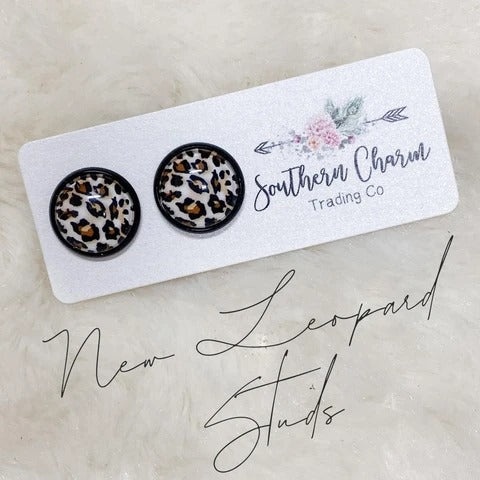 Earrings - 12mm New Leopard in Black Settings