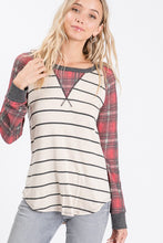 Load image into Gallery viewer, Plaid Raglan Long Sleeve Top