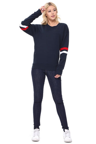 Jersey Stripe Fleece Pullover