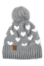 Load image into Gallery viewer, Heart Pom Pom Beanie