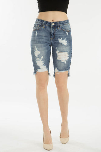 Kan Can Heavy Distressed Bermuda Shorts