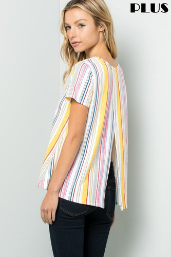 Plus Size Stripe Short Sleeve Top