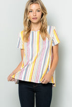 Load image into Gallery viewer, Plus Size Stripe Short Sleeve Top