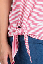Load image into Gallery viewer, Stripe Bell Sleeve Top with Knot Tie