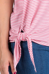 Stripe Bell Sleeve Top with Knot Tie