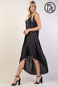 Plus Size Stripe High-Low Dress