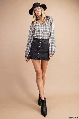 Ruffle Plaid Puffed Sleeve Top