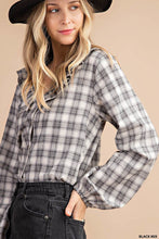 Load image into Gallery viewer, Ruffle Plaid Puffed Sleeve Top