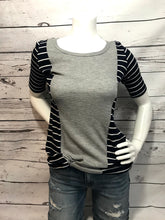 Load image into Gallery viewer, Half sleeved navy with white stripped T-Shirt with grey strip