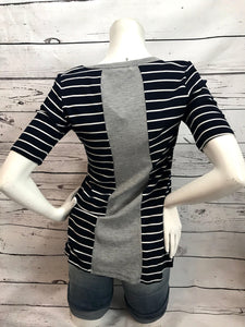 Half sleeved navy with white stripped T-Shirt with grey strip